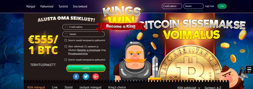 Ekraanipilt Kasiino KingsWin Koduleht