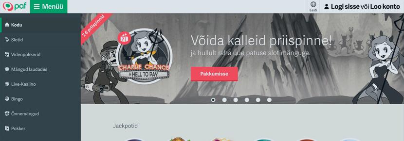 Ekraanipilt Kasiino PAF Koduleht