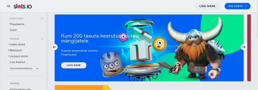 Ekraanipilt Kasiino Slots.io Koduleht